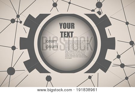 Molecule And Communication Background. Modern vector brochure or report design template. Field for text as gear icon. Connected lines with dots. Medical, technology, chemistry, science background