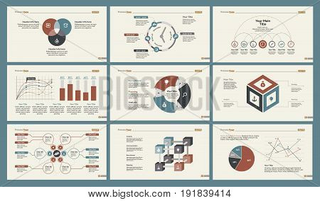 Infographic design set can be used for workflow layout, diagram, annual report, presentation, web design. Business and statistics concept with process, percentage, timing, line, pie and bar charts.