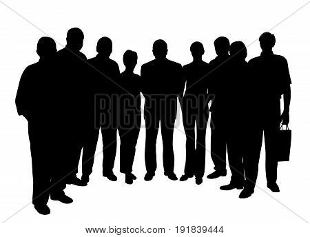 Group of people, seven men and two women. Isolated white background. EPS file available.