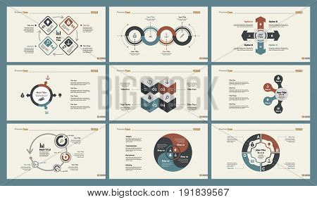 Infographic design set can be used for workflow layout, diagram, annual report, presentation, web design. Business and planning concept with process, percentage and cycle charts.