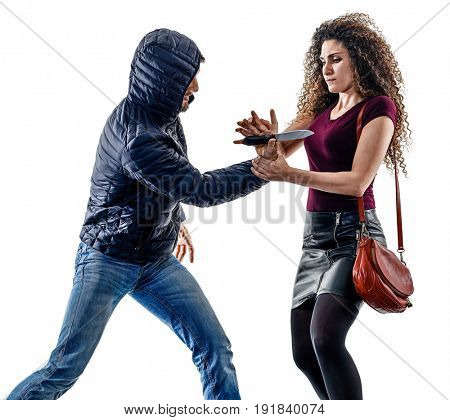 one caucasian woman victim of a thief aggression self defense isolated on white background