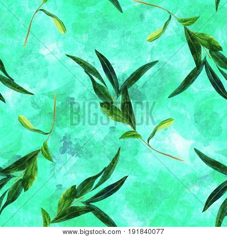 A seamless pattern with a watercolor drawing of a green olive branch on abstract teal natural background