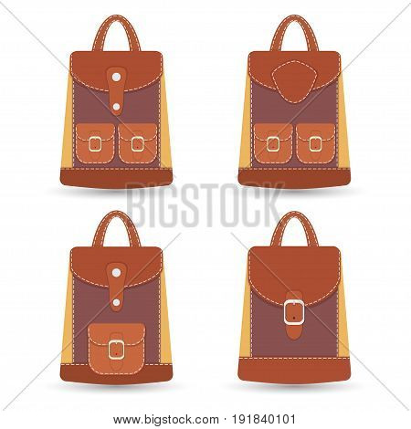 Collection of stylish colorful leather backpacks with pockets and white stitching. Vector illustration eps8