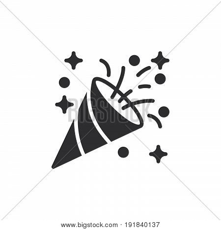 Confetti popper icon vector filled flat sign solid pictogram isolated on white. Celebration symbol logo illustration. Pixel perfect