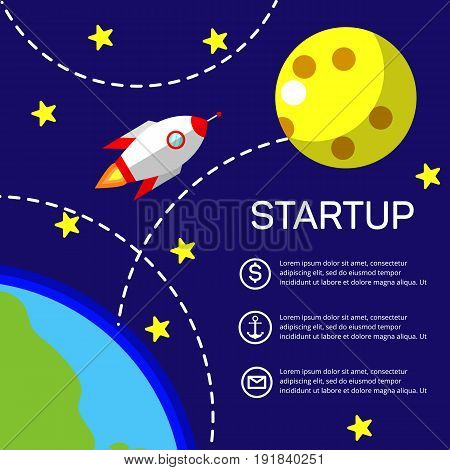 Business startup, new project. Flat design style modern vector illustration. Rocket flying from Earth to Moon. Eps10