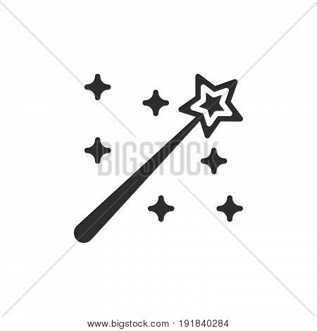 Magic wand icon vector filled flat sign solid pictogram isolated on white. Symbol logo illustration. Pixel perfect