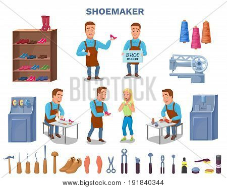 Shoemaker cartoon character with cobbler tools set colorful vector illustration including carpenter repair instruments, shoe machines, boots, sewing machine, glue, threads, brushes