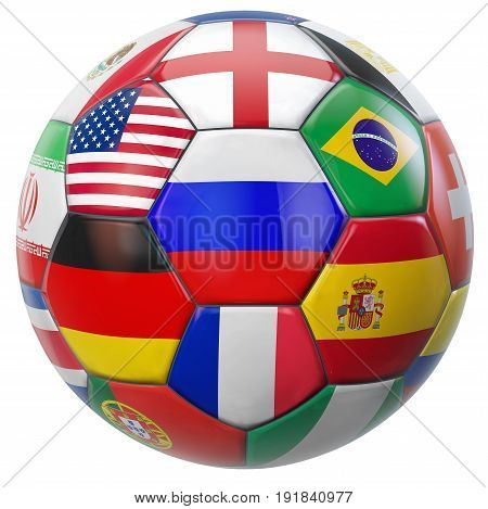 Russia football with participating national teams flags in world soccer tournament. Clipping path included for easy selection. 3D illustration