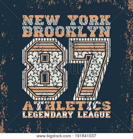 t-shirt New York fashion Typography sport emblem design Number with star ornament graphic Print label