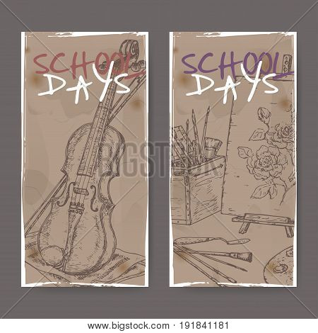 Two banners with school related sketches featuring art tools and violin. School memories collection. Great for school, education, book shop, retro design.