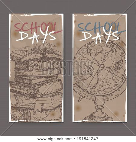 Two vertical banners with hand drawn school related sketches featuring books and globe. School memories collection. Great for school, education, book shop, retro design.