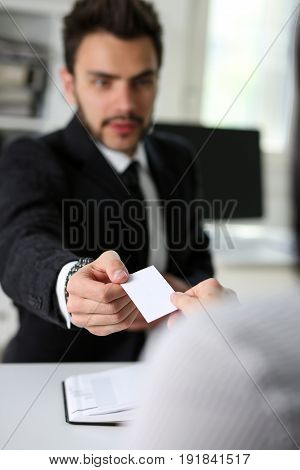 Male Hand In Suit Give Blank Calling Card