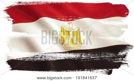 Egypt flag background with fabric texture. 3D illustration