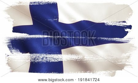 Finland flag waving full frame background texture. 3D illustration