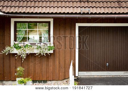 Details of traditional house in scandinavian style. Sweden Scandinavia Europe.