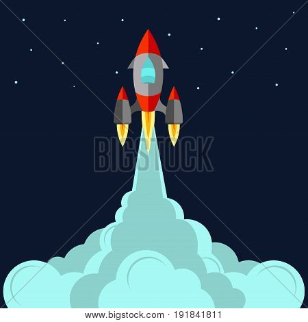 space rocket start up and launch symbol new businesses innovation development flat design fully editable image