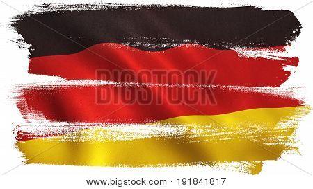 Germany flag waving full frame background texture. 3D illustration