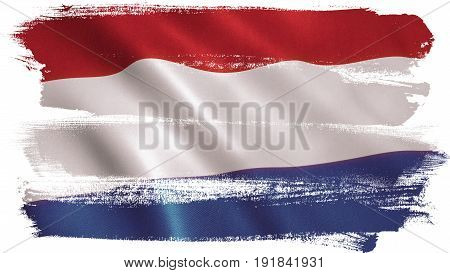 Holland flag background with fabric texture. 3D illustration
