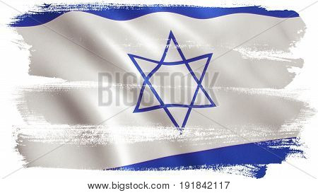 Israel flag background with fabric texture. 3D illustration.