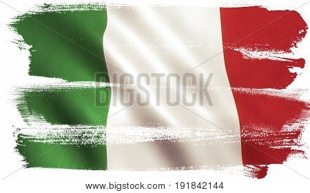 Italy flag background with cloth texture. 3D illustration