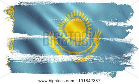 Kazakhstan flag background with fabric texture. 3D illustration