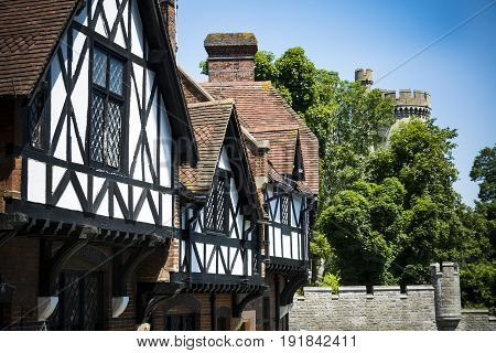 Tudor buildings in bright sunshine by Arundel castle
