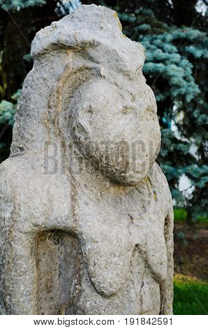 Ancient Scythian Anthropomorphic Sculpture Displayed In The Center Of Kharkuiv, Ukraine
