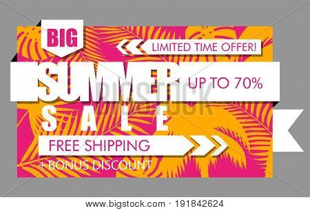 Summer sale banner with tropical exotic palm leaves and plant orange and pink background. Vector bright floral design white text limited time offer free shipping bonus discount up to 70 percent.