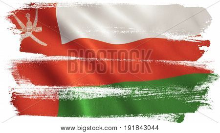 Oman flag background with fabric texture. 3D illustration