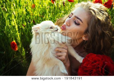 Girl In Field Of Poppy Seed With Dog Of Spitz