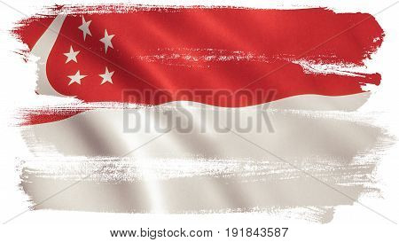 Singapore flag background with fabric texture. 3D illustration