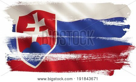 Slovakia flag background with fabric texture. 3D illustration.