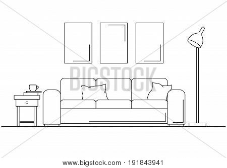 Modern interior. Sofa floor lamp and bedside table. The clock hangs on the wall. In front of the sofa is a carpet. Vector illustration in a linear style.