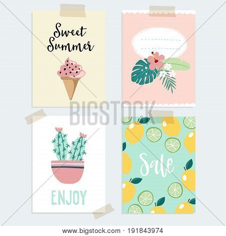Set of hand drawn summer greeting or journaling cards. Tropical design with palm leaves, cactus, lemon fruit and ice cream., isolated vector objects.