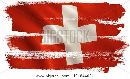 Swiss flag background with fabric texture. 3D illustration.