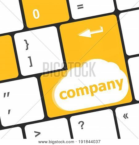 Computer Keyboard Key With Company Button. Business Concept