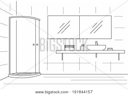 Bathroom. Shower double mirror worktop with sink. Vector illustration in a linear style.