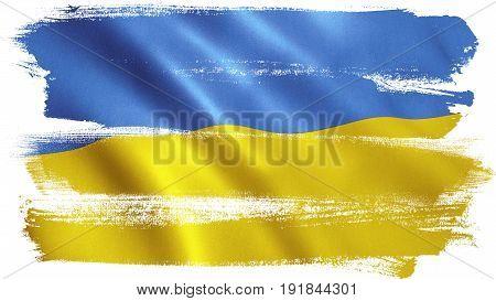Ukraine flag background with fabric texture. 3D illustration.