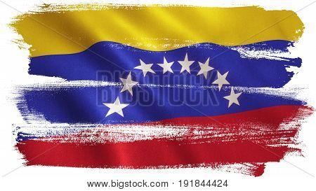 Venezuela flag with fabric texture. 3D illustration.