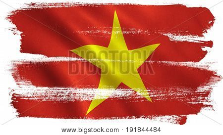 Vietnam flag background with fabric texture. 3D illustration.