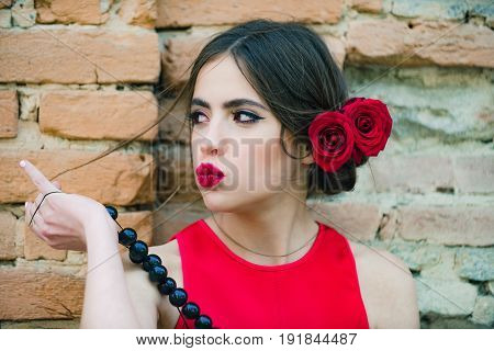 Woman Pouting Duck Lips With Red Lipstick