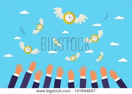 Concept of time. Business men catch by hands clock with wings in the sky. Flat design, vector illustration.