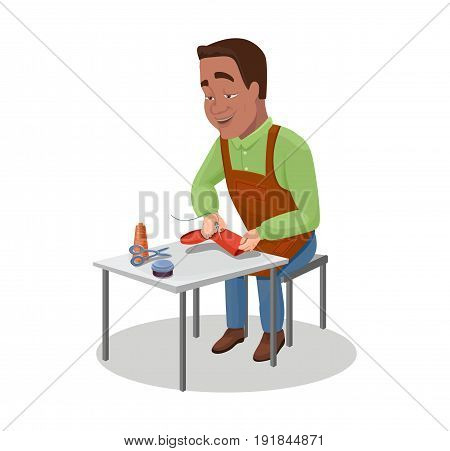 Shoemaker cartoon character indian black haired worker sewing shoes with needles and threads vector illustration