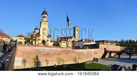 ALBA IULIA ROMANIA - 04.02.2017: The Fortress and The Coronation Orthodox Cathedral and Roman Catholic church