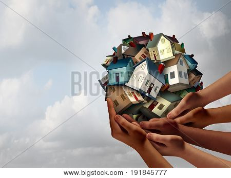 Social housing concept and supportive home ownership symbol as a group of diverse hands holding many family homes as a metaphor for supporting neighborhood togetherness.