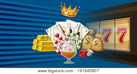 Casino games horizontal banner concept. Cartoon illustration of casino games vector horizontal banner for web
