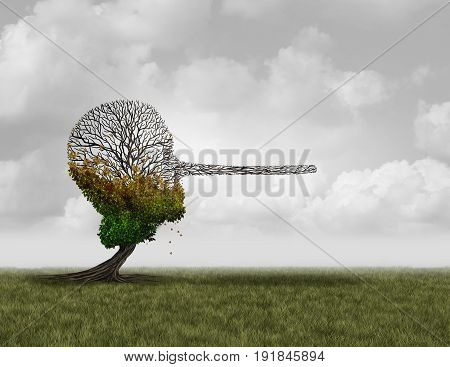 Climate change denier concept as a dying sick tree shaped as a human head with a long nose as a surreal environmental metaphor and conservation symbol for global warming disinformation with 3D illustration elements.