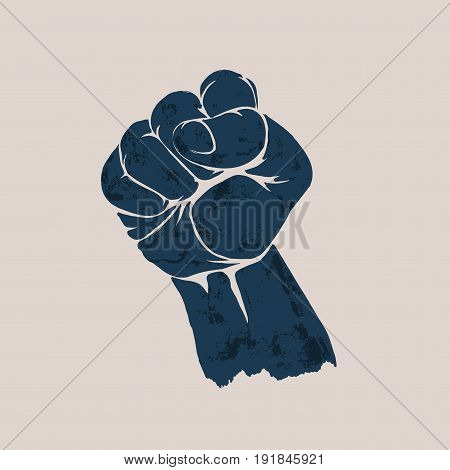 Raised up clenched fist. Element of retro style design vintage poster. Silhouette stencil.