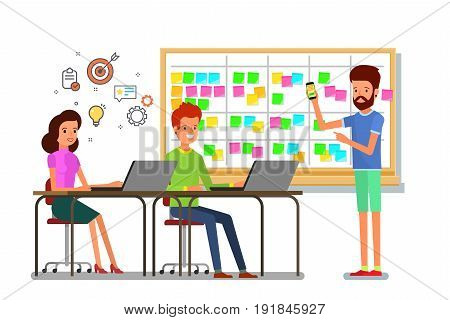 Cartoon scrum master. A man is planning a team work at the scrum board. Scrum task board with sticky note cards. Flat design, vector illustration.