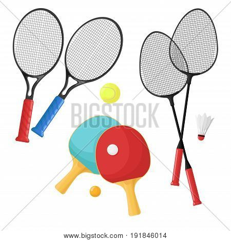 Sport items for: tennis badminton and ping-pong. Rackets and balls shuttlecock isolated on a white background. Vector illustration.